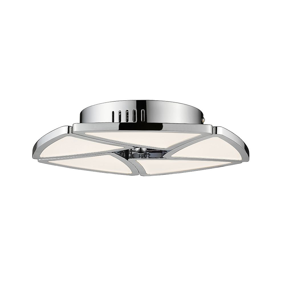 Filament Design 1-Light Chrome Semi Flush Mount with White Acrylic Shade - 13 inch