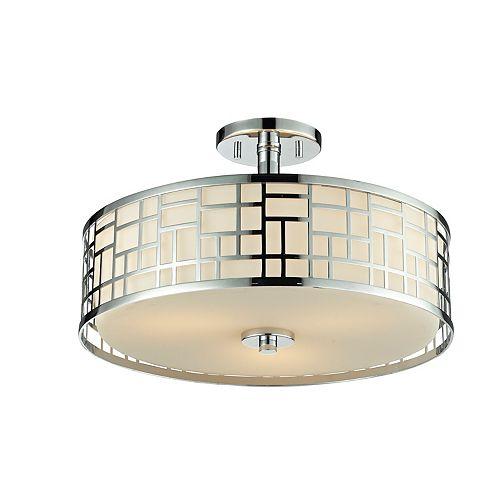 Semi-plafonnier chrome à 3 lumières avec verre opale mat - 16,25 pouces