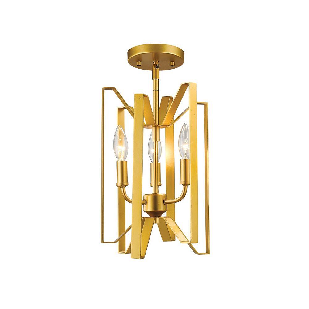 Filament Design Plafonnier semi-affleurant à 3 lampes en or métallisé poli