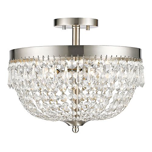 Filament Design 4-Light Brushed Nickel Semi Flush Mount with Clear Crystal Accents - 15 inch