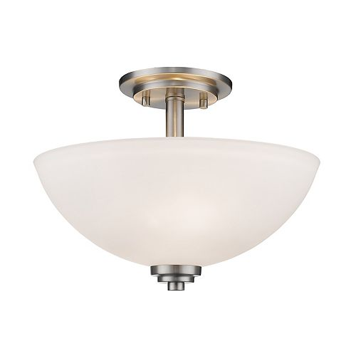 Filament Design 3-Light Brushed Nickel Semi Flush Mount with Matte Opal Glass - 15.75 inch