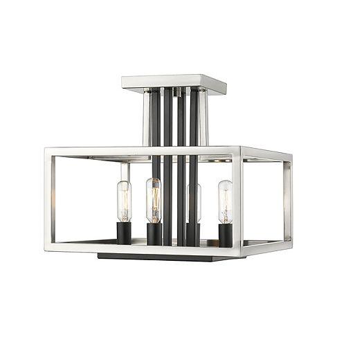 Plafonnier semi-affleurant à 4 lampes, nickel noir et noir - 13 pouces