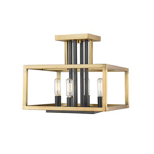 4-Light Olde Brass and Bronze Semi Flush Mount - 13 inch