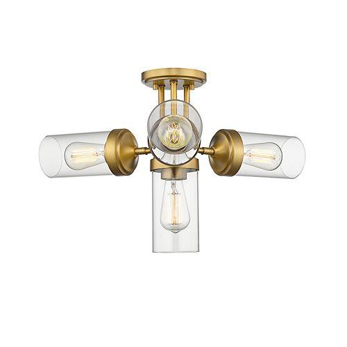 Plafonnier semi-affleurant à 4 ampoules au fini laiton et verre clair