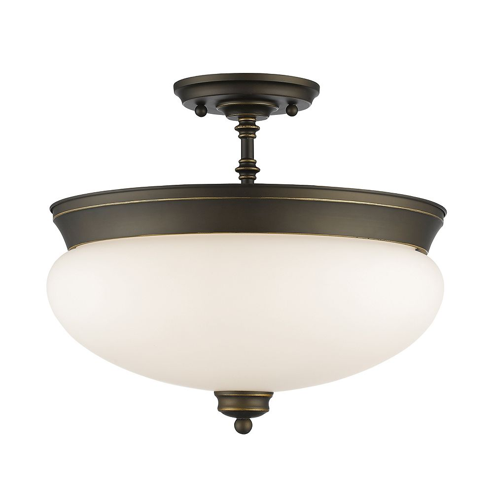 Filament Design 3-Light Olde Bronze Semi Flush Mount with Matte Opal Glass - 15 inch