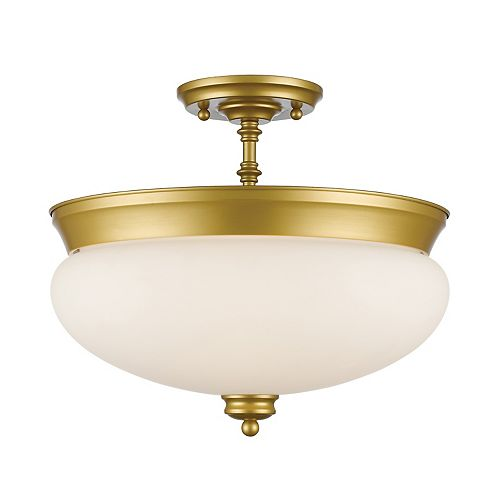 3-Light Satin Gold Semi Flush Mount with Matte Opal Glass - 15 inch