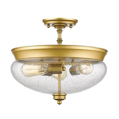 3-Light Satin Gold Semi Flush Mount with Clear Seedy Glass - 15 inch