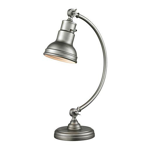 Lampe de table à 1 lumière en argent bruni avec abat-jour en acier bruni
