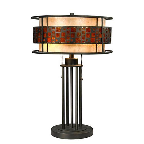 Lampe de table Java à 2 lampes, bronze avec abat-jour en mica ambré et en mica blanc