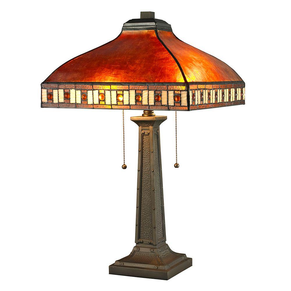 Filament Design Lampe de table Java à 2 lampes, bronze avec abat-jour en mica ambre et verre