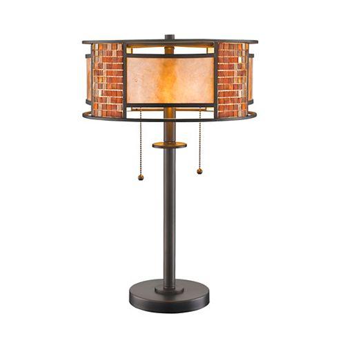 Lampe de table à 2 lampes de couleur bronze avec abat-jour en mica blanc et verre au carrelage