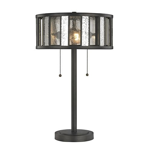 Filament Design 2-Light Bronze Table Lamp with Silver Mercury and Clear Seedy Glass and Steel Shade - 14 inch