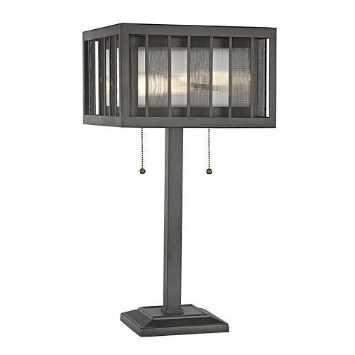 Lampe de table à 2 ampoules en bronze avec abat-jour en acier et verre reeded et bronze, 12 pouces