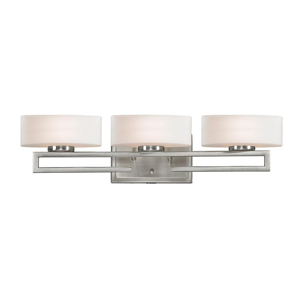 Filament Design Coiffeuse à 3 Lumières en Nickel Brossé et Verre Opale Mat - 5,625 pouces
