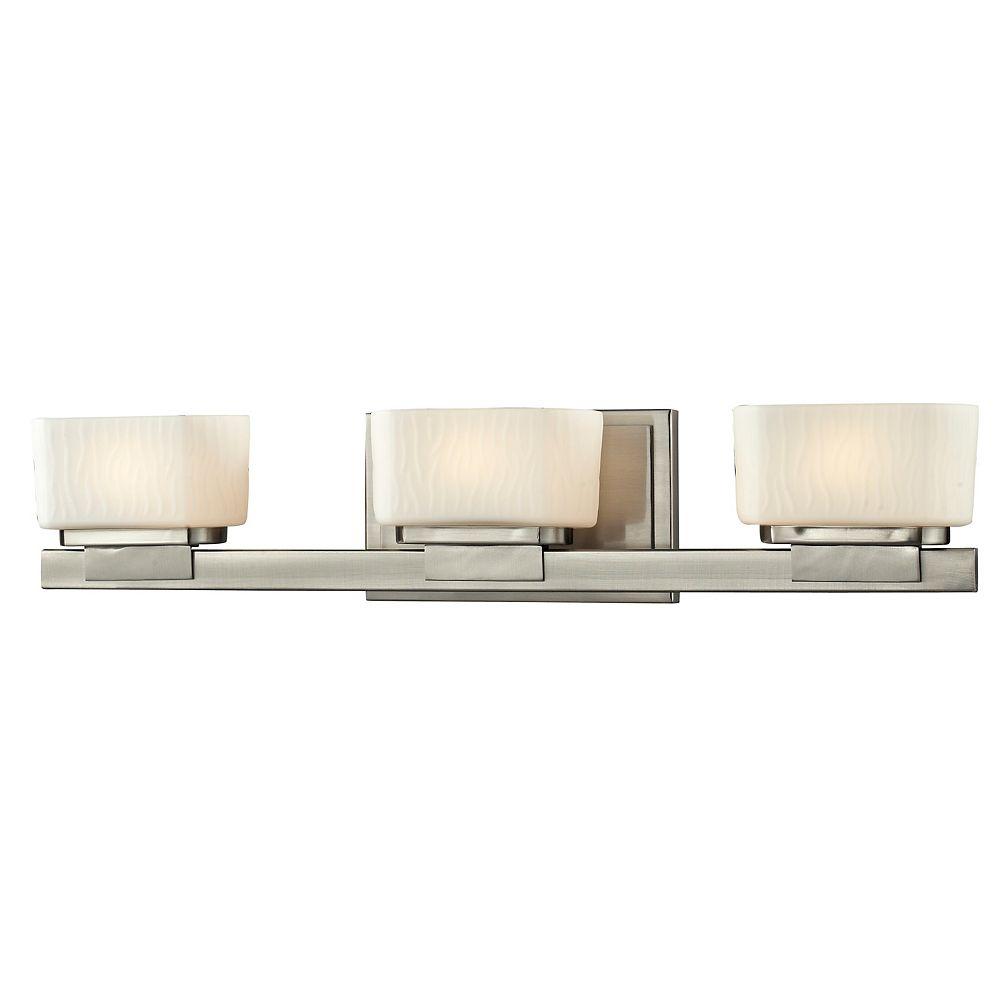 Filament Design Vanité à 3 lumières en nickel brossé avec verre opale mat - 5 pouces