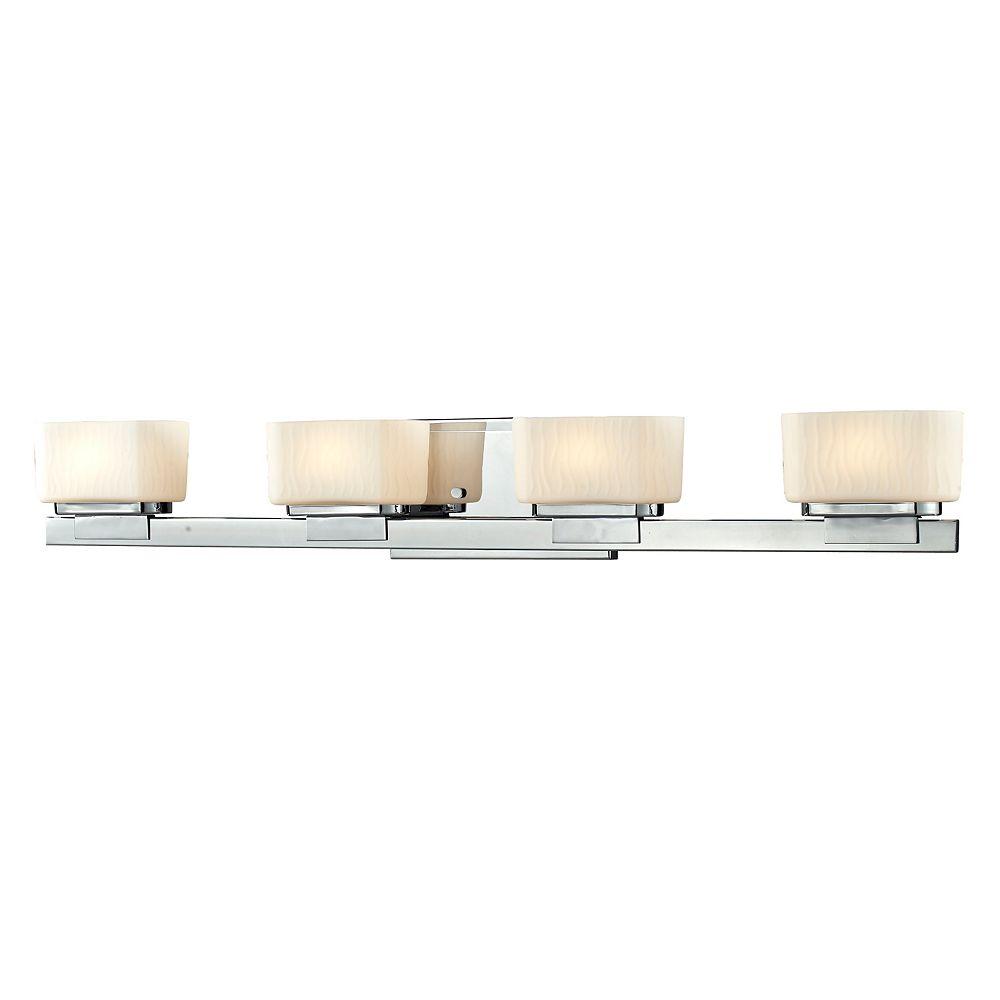 Filament Design Vanité chrome à 4 lumières avec verre opale mat - 5 pouces