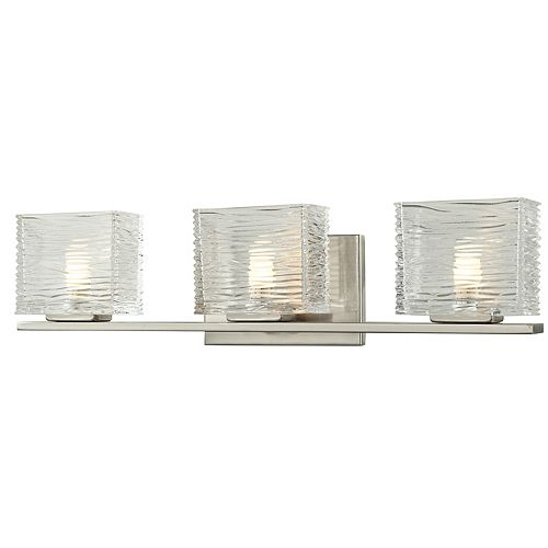 Filament Design 3-Light LED Brushed Nickel Vanity with Clear Glass - 3.75 inch