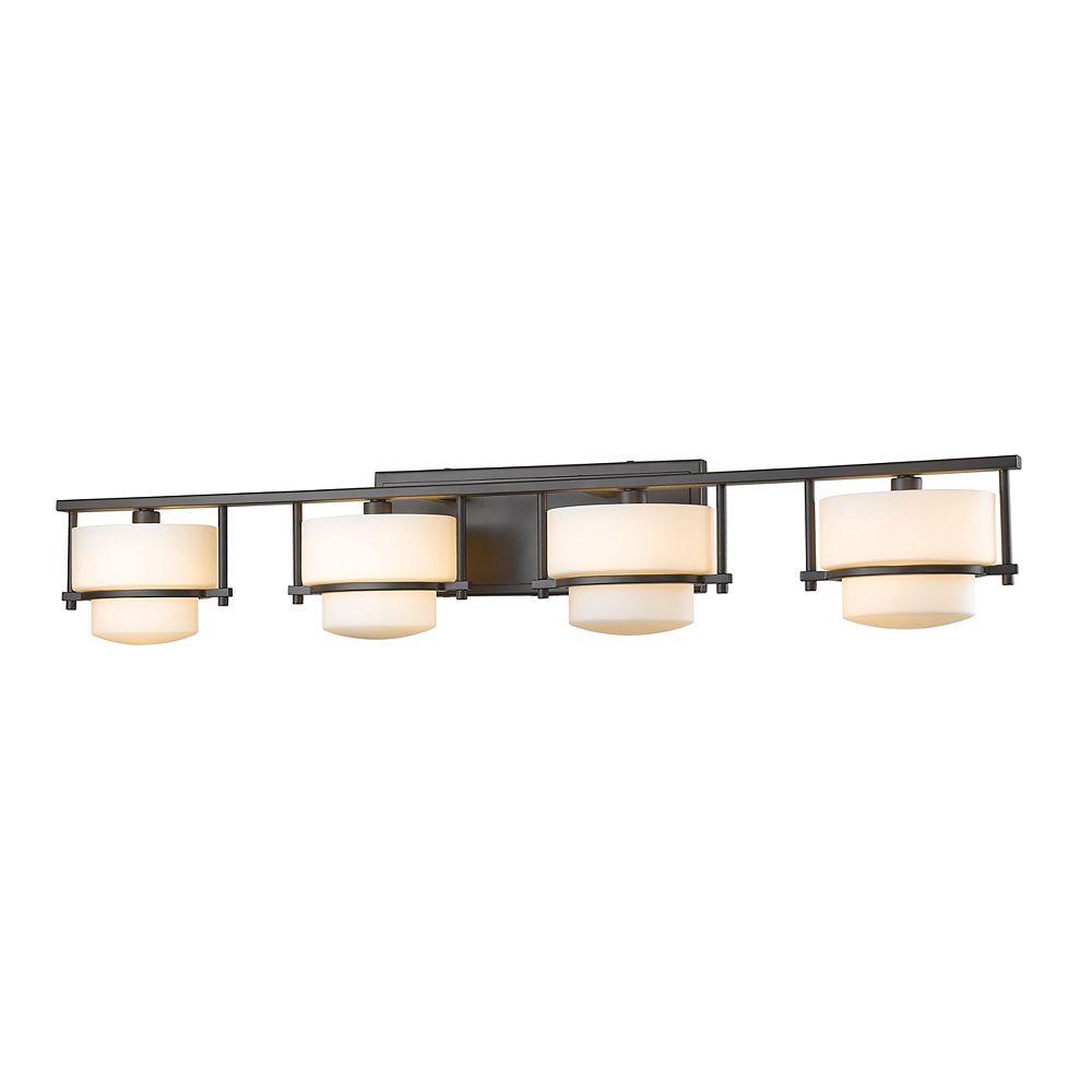 Filament Design Vanité bronze à 4 lumières avec verre opale mat - 5,5 pouces