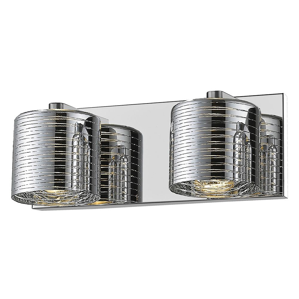 Filament Design Meuble lavabo à 2 lampes au fini chrome avec verre chromé - 5 po