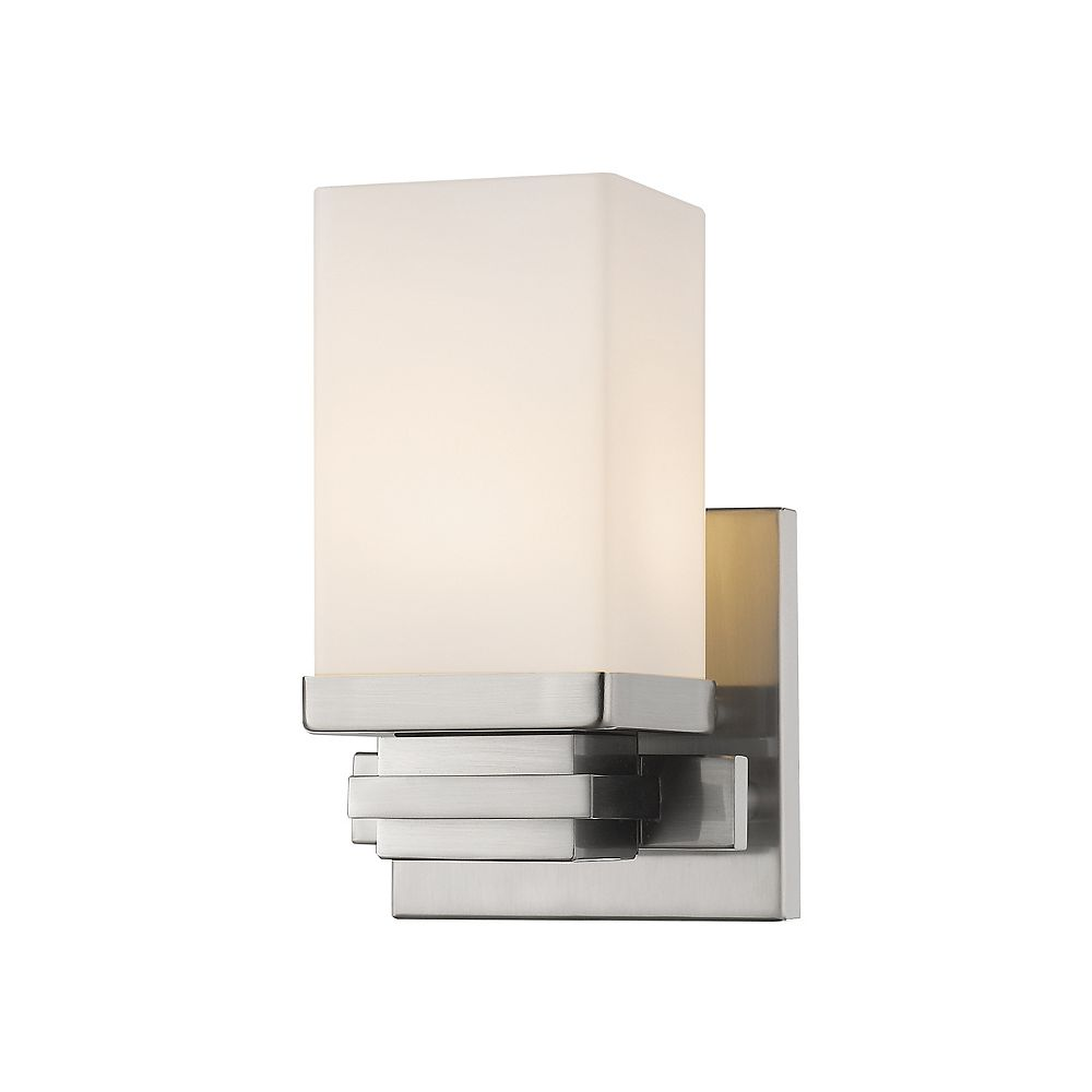 Filament Design 1-Light Brushed Nickel Wall Sconce with Matte Opal Glass - 4.9 inch