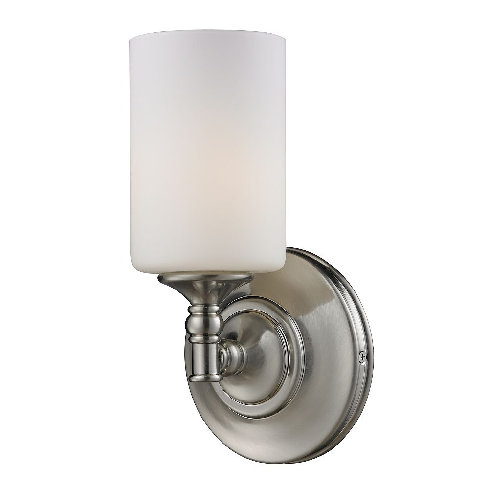 Filament Design 1-Light Brushed Nickel Wall Sconce with Matte Opal Glass - 5.5 inch