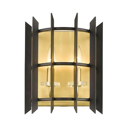 Applique murale à 2 ampoules en laiton satiné avec abat-jour en acier noir mat - 9,125 pouces
