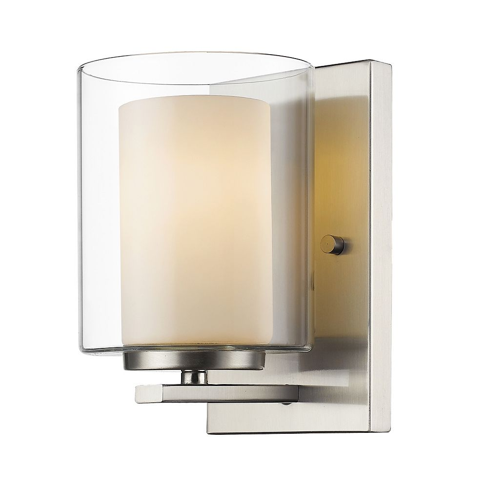 Filament Design 1-Light Brushed Nickel Wall Sconce with Clear and Matte Opal Glass - 6 inch