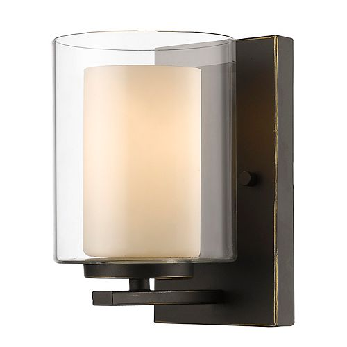 1-Light Olde Bronze Wall Sconce with Clear and Matte Opal Glass - 6 inch