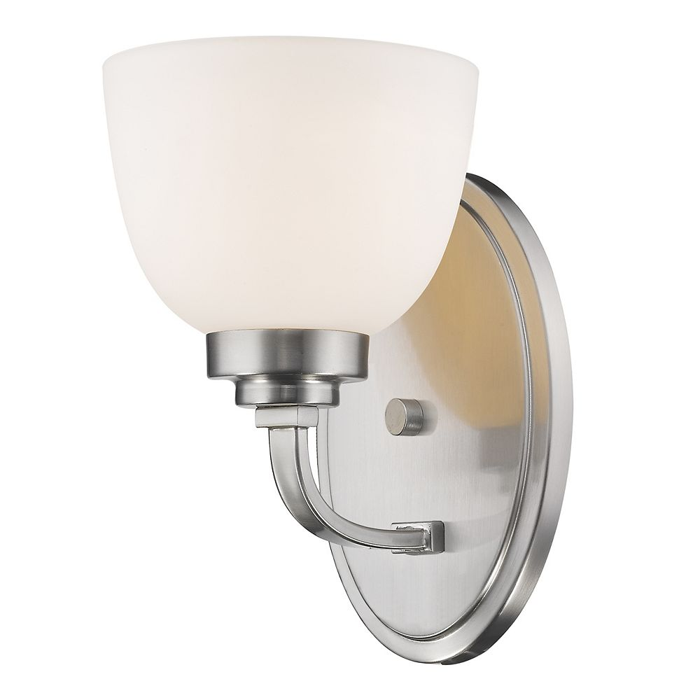 Filament Design 1-Light Brushed Nickel Wall Sconce with Matte Opal Glass - 7.25 inch