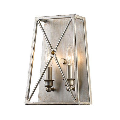 Applique murale à 2 ampoules au fini argent antique avec abat-jour en acier argenté, 4,5 po
