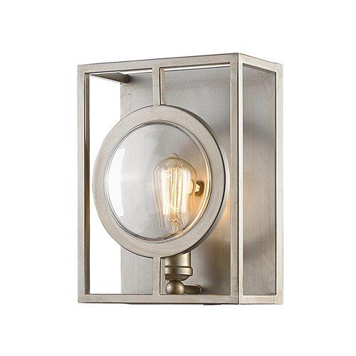 Applique argentée à 1 lumière avec abat-jour en acier argenté, 5,5 po