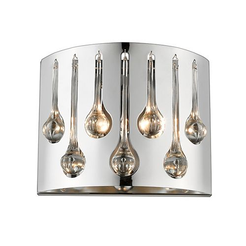 Applique murale à 2 ampoules au fini chrome avec abat-jour en chrome et cristal et acier