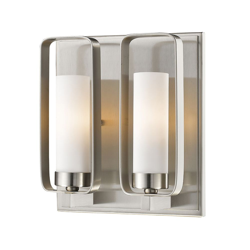 Filament Design 2-Light Brushed Nickel Wall Sconce with Matte Opal Glass - 4 inch