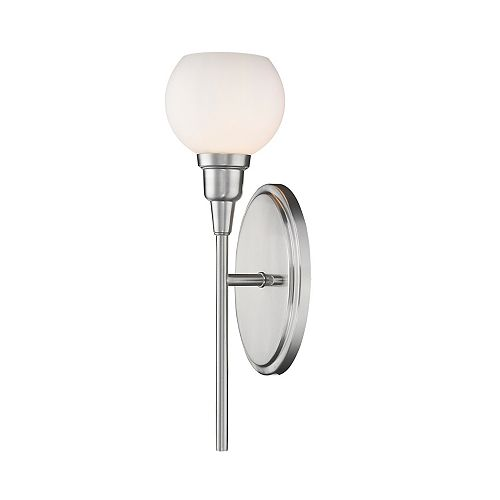Filament Design 1-Light Brushed Nickel Wall Sconce with Matte Opal Glass - 5 Inch