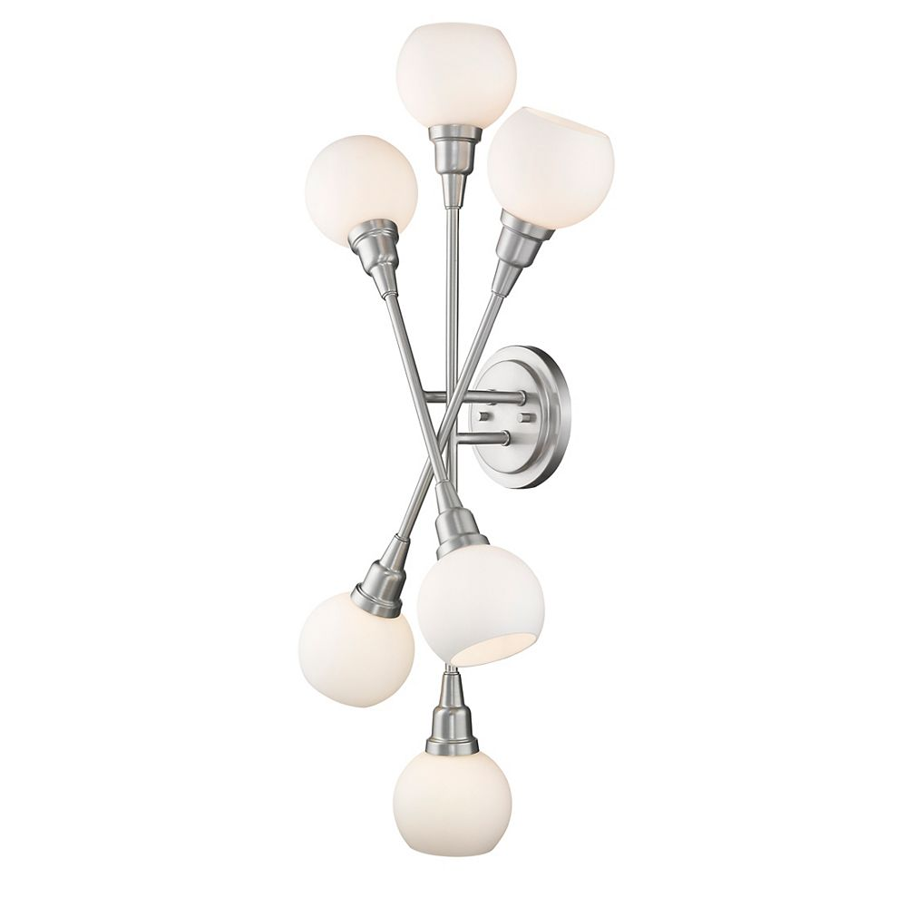 Filament Design 6-Light Brushed Nickel Wall Sconce with Matte Opal Glass - 8.25 inch