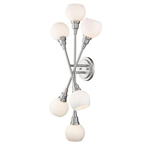 Applique murale à 6 ampoules DEL au nickel nickel brossé et verre opale opaque - 8,25 pouces
