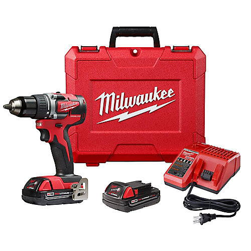 M18 18V Lithium-Ion Brushless Cordless Compact 1/2-Inch Drill/Driver Kit w/ (2) 2.0 Ah Batteries