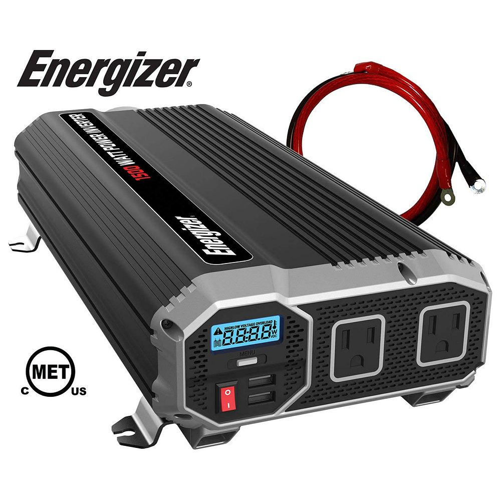 Energizer 1500 Watt 12v Dc To 120v Ac Power Inverter The Home Depot Canada