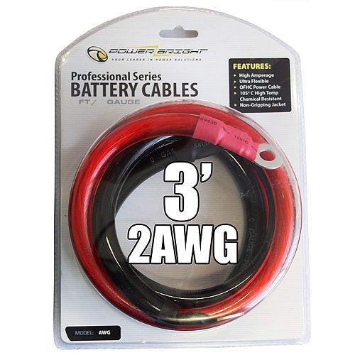 2 gauge 3 foot professional heavy duty DC power cables with ring connectors
