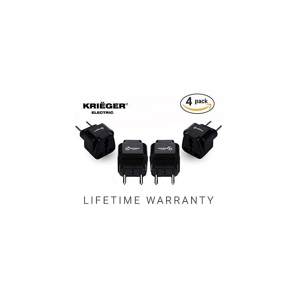 Krieger Universal to European plug adapter (4-Pack)
