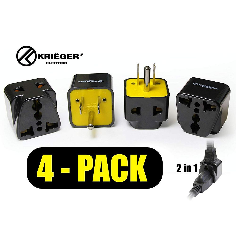 Krieger Universal to American 2-in-1 Plug Adapter (4-Pack)