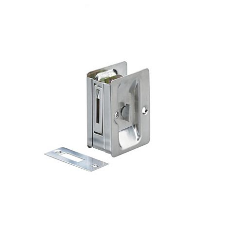 Pocket Door Pull, Privacy Lock - Left and Right compatible - Brushed Chrome