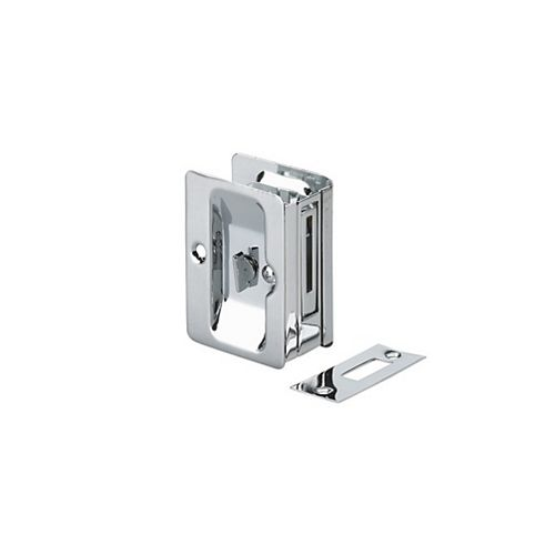 Pocket Door Pull, Privacy Lock - Left and Right compatible - Chrome