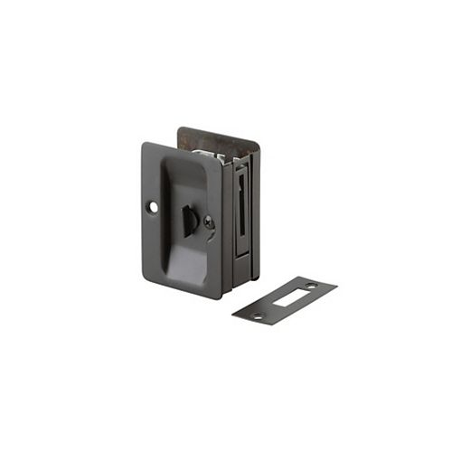 Pocket Door Pull, Privacy Lock - Left and Right compatible - Black
