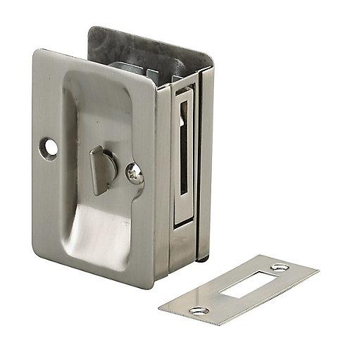 Poignée pour porte escamotable - Privée  - Compatible gauche et droite - Nickel brossé