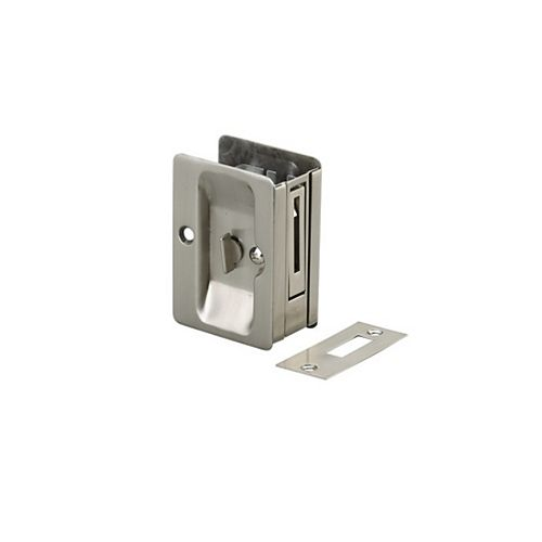 Pocket Door Pull, Privacy Lock - Left and Right compatible - Brushed Nickel