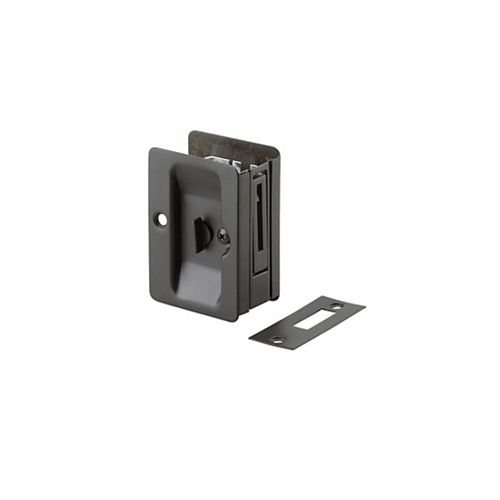 Pocket Door Pull, Privacy Lock - Left and Right compatible - Oil Rubbed Bronze