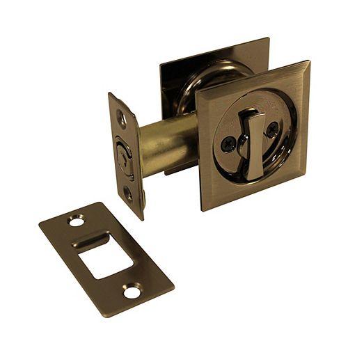 Pocket Door Pull - Square - Privacy, Antique Nickel