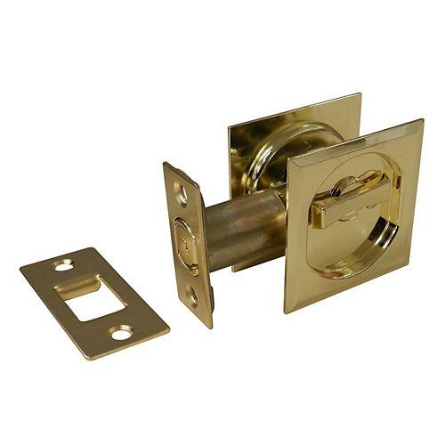 Pocket Door Pull - Square - Privacy, Bright Brass