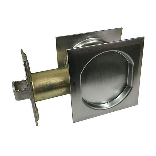 Pocket Door Pull - Square - Passage, Brushed Chrome